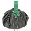 Large Round Pouch with Leaf Closure