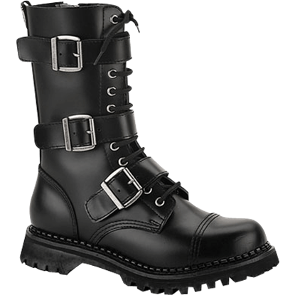 Three Buckle Gothic Calf Boots