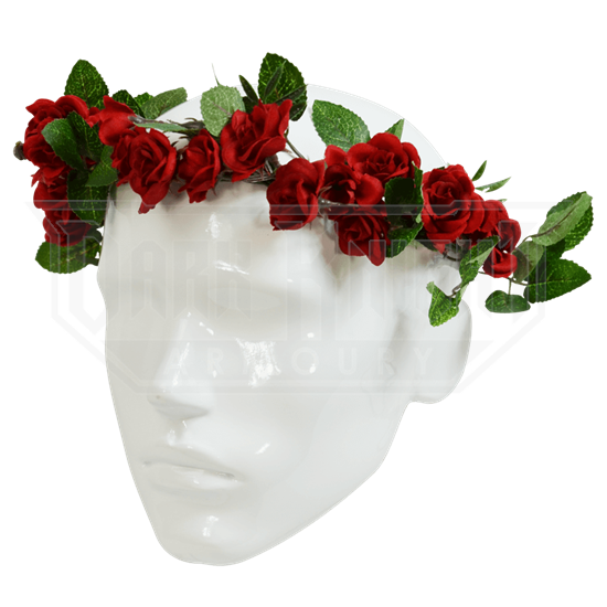 Red Rose Floral Head Wreath