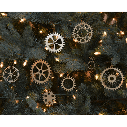 Steampunk Gear Christmas Ornament Set of 8