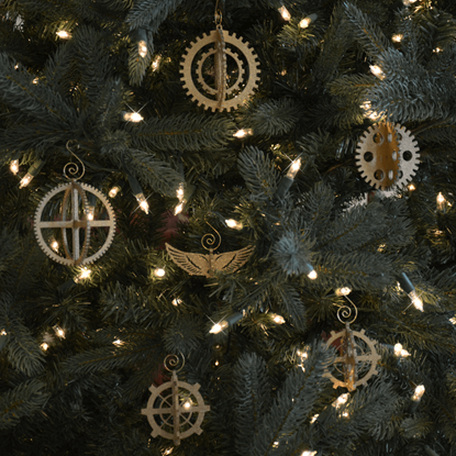 3-D Steampunk Gear Ornament Set of 6