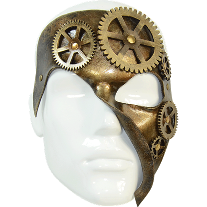 Geared Bronze Steampunk Leather Mask