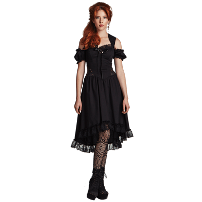 Ladys Lace Trimmed Steampunk Dress