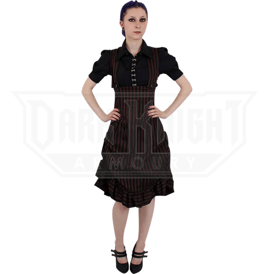 Steampunk Striped Underbust Pinafore Dress