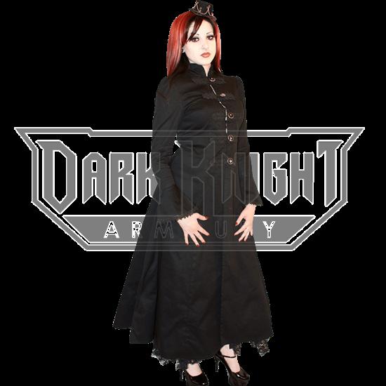Gothic Long Flared Black Canvas Coat