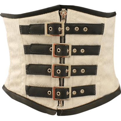 Steampunk Buckled White Waist Cincher