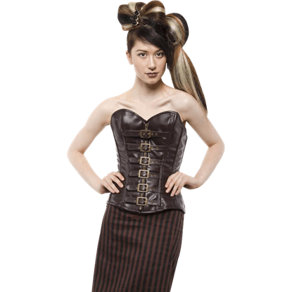 Steampunk Sweetheart Buckled Overbust Corset