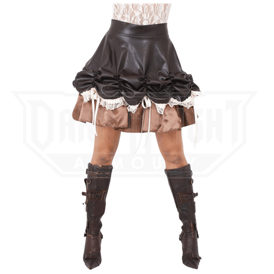 Steampunk Leatherette Ruched Skirt