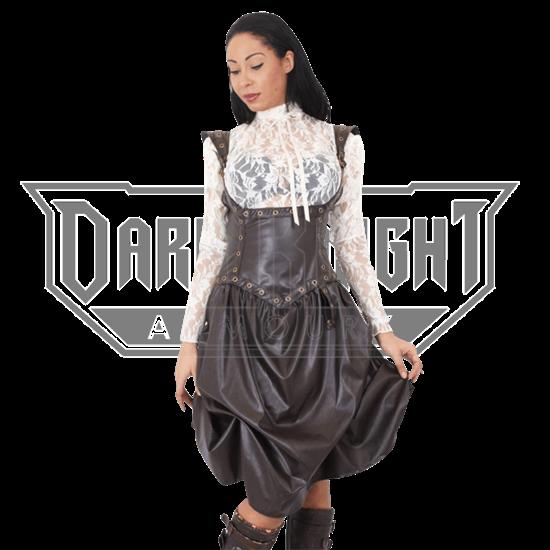 Steampunk Leatherette Underbust Eyelet Dress