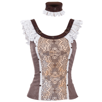 Steampunk Lacy Top with Collar