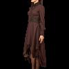 Steampunk High Collar Striped Brown Cotton Dress