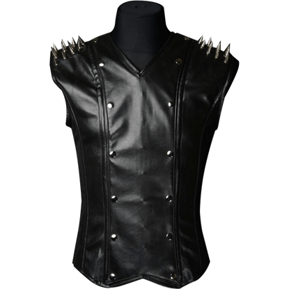 Gothic Spiked Black V-Neck Shaper Vest
