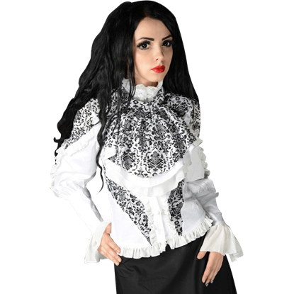 Black and White Brocade Blouse
