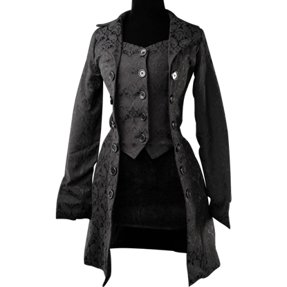 Black Brocade Pirate Coat