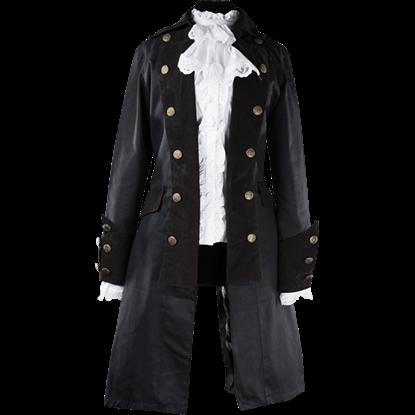 Long Black Lady Pirate Coat