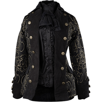 Black Jacquard Lady Pirate Jacket