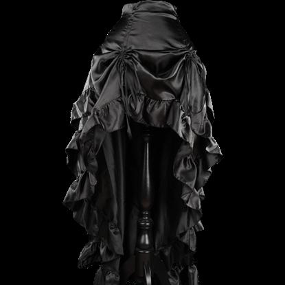 Black Satin Layered Bustle Skirt