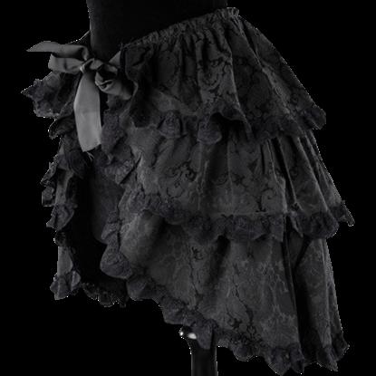 Black Brocade Layered Overskirt
