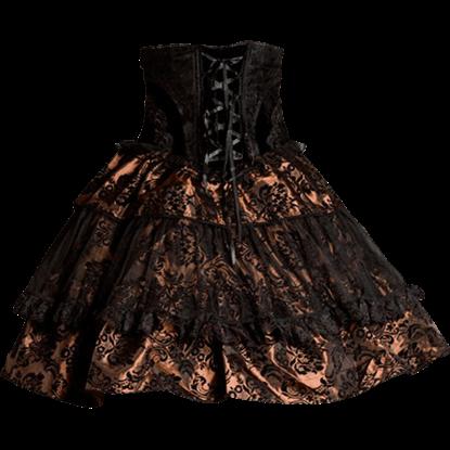 Brown Brocade High Waist Skirt