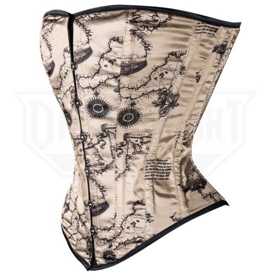 Antique Map Overbust Corset