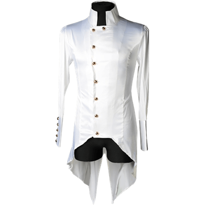 Gothic White Satin Regal Tailcoat Shirt (White Satin Regal Tailcoat Shirt)
