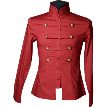 Gothic Red Cotton Naval Shirt