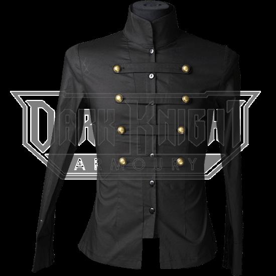 Gothic Black Cotton Naval Shirt