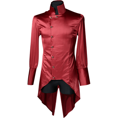 Gothic Red Satin Regal Tailcoat Shirt