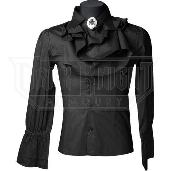 Gothic Mens Black Ruffle Shirt