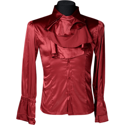 Gothic Mens Red Satin Ruffle Shirt