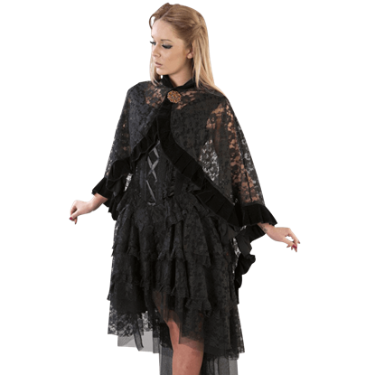 Catherine Black Lace Cape