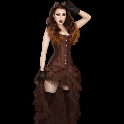 Elvira Brown Taffeta Skirt