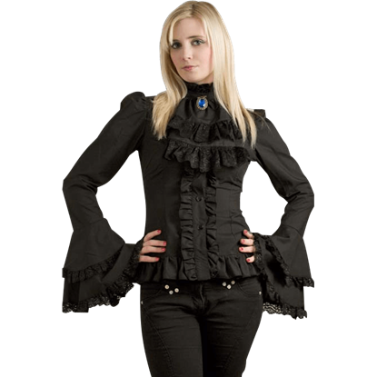 Gothic Womens Cravat Ruffled Blouse