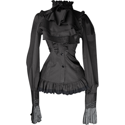 Gothic Black Ruffled Cravat Blouse
