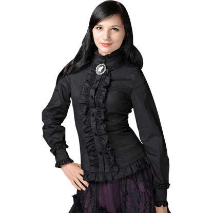 Gothic Victorian Black Ruffled Blouse