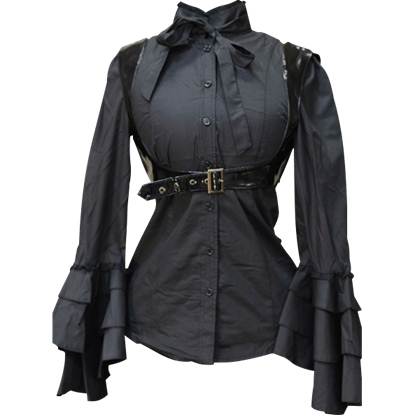 Gothic Black Buckle Blouse