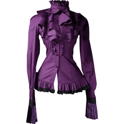 Gothic Purple Ruffled Cravat Blouse