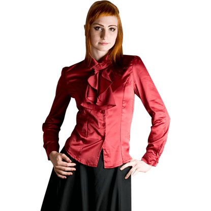 Gothic Red Satin Ruffle Blouse