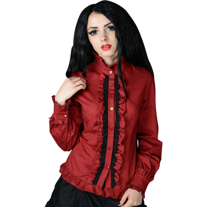 Gothic Red Victorian Blouse