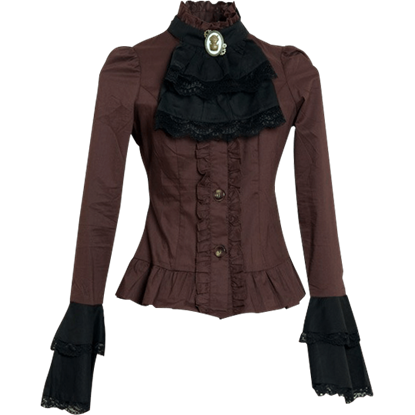 Steampunk Brown and Black Cravat Blouse