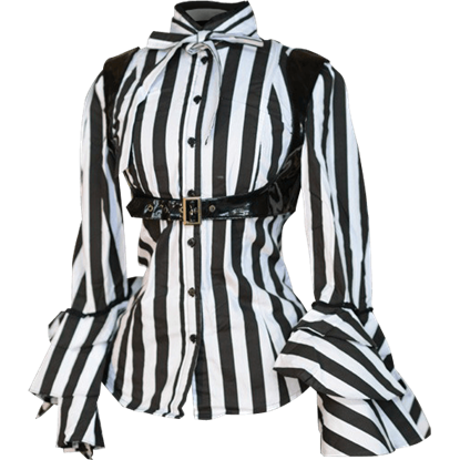 Gothic Striped Buckle Blouse