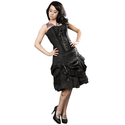 Angelina Black Taffeta Corset Dress