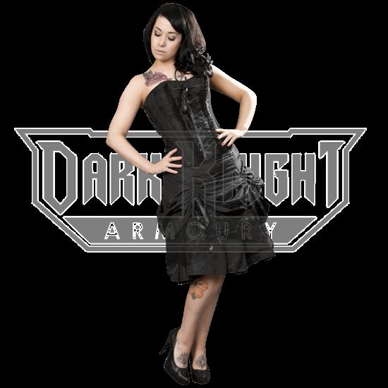 Angelina Black Taffeta Corset Dress