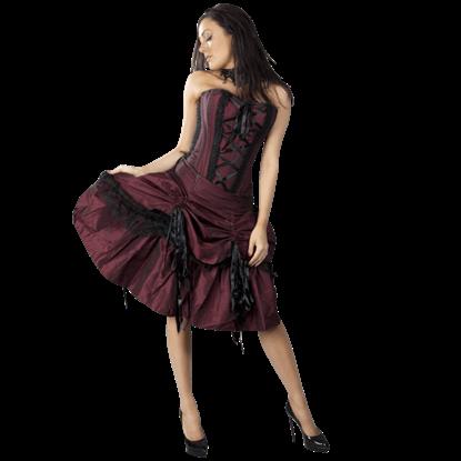 Angelina Burgundy Taffeta Corset Dress