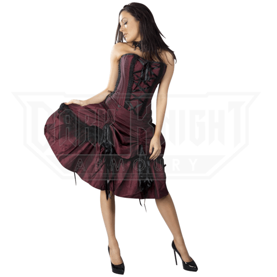Angelina Burgundy Taffeta Corset Dress