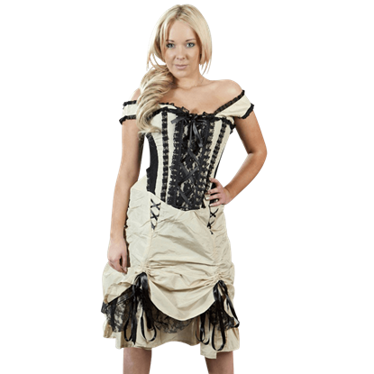 Dita Cream and Black Taffeta Corset Dress