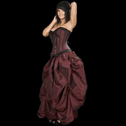 Burgundy Taffeta Ball Gown Skirt