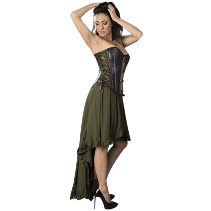 Elizium Olive Chiffon Skirt