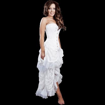 Elvira White Taffeta Skirt