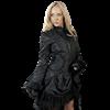 Black Scroll Brocade Dress Coat